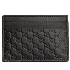 Gucci Black Leather Micro GG Wallet Card Case